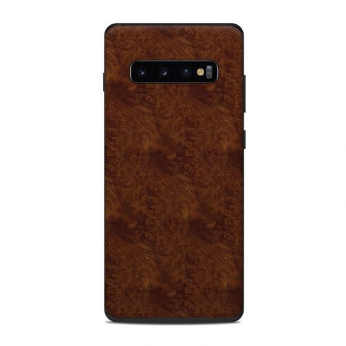 Dark Burlwood Samsung Galaxy S10 Plus Skin