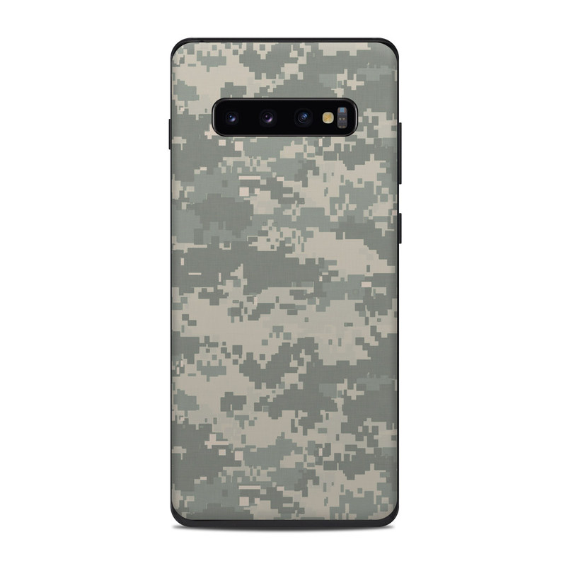 Samsung Galaxy S10 Plus Skin design of Military camouflage, Green, Pattern, Uniform, Camouflage, Design, Wallpaper with gray, green colors