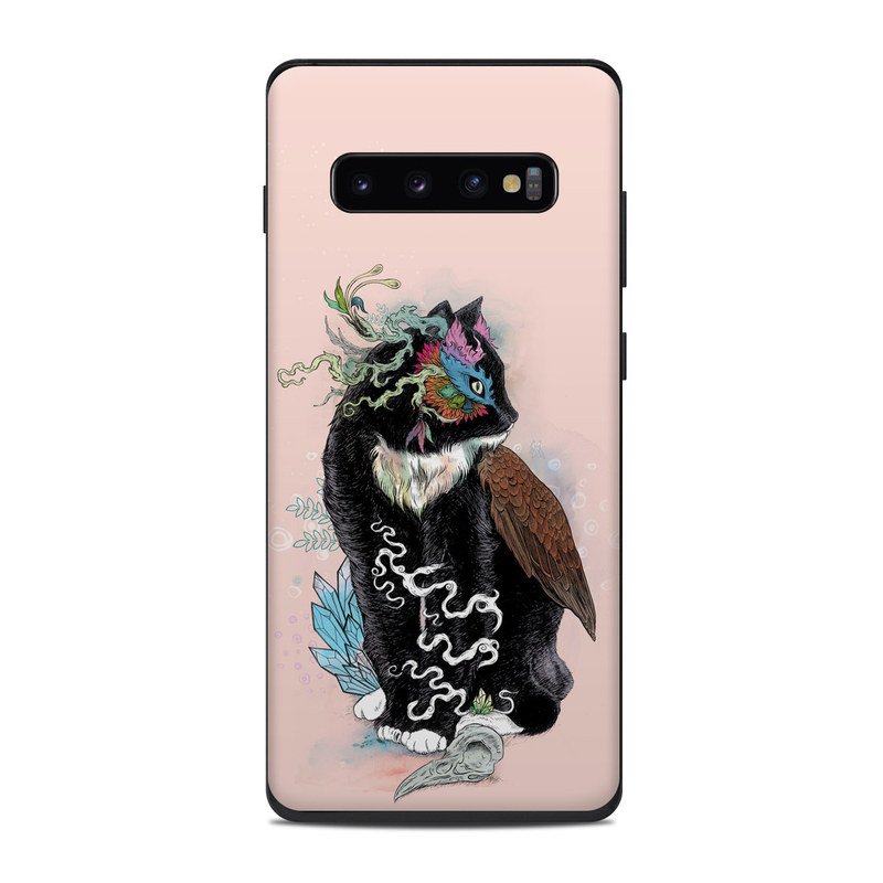 Samsung Galaxy S10 Plus Skin design of Illustration, Owl, Art, Graphic design, Cat, Tail with pink, black, brown, red, green colors