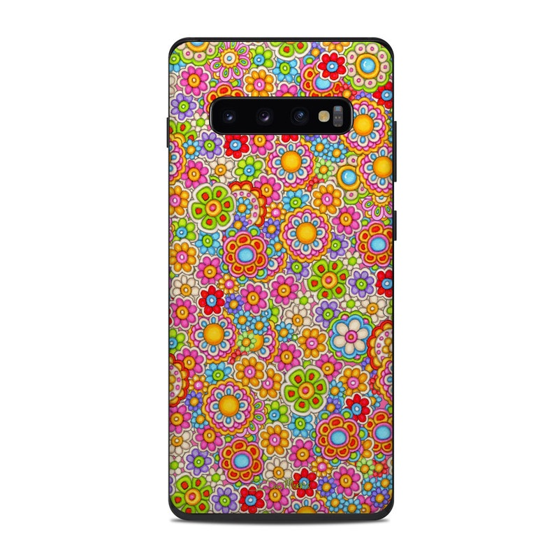 Samsung Galaxy S10 Plus Skin design of Pattern, Design, Textile, Visual arts with pink, red, orange, yellow, green, blue, purple colors