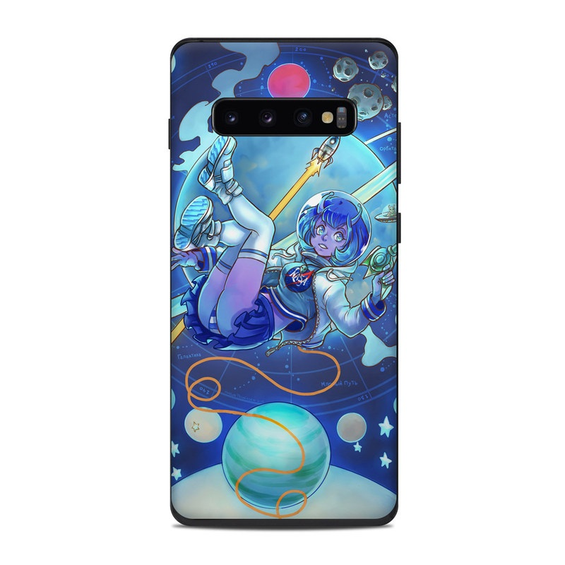 Samsung Galaxy S10 Plus Skin design of Cartoon, Illustration, Graphic design, Games, Space, Design, Anime, Art, Graphics, Fictional character with blue, white, yellow, purple, green, red, orange, black colors