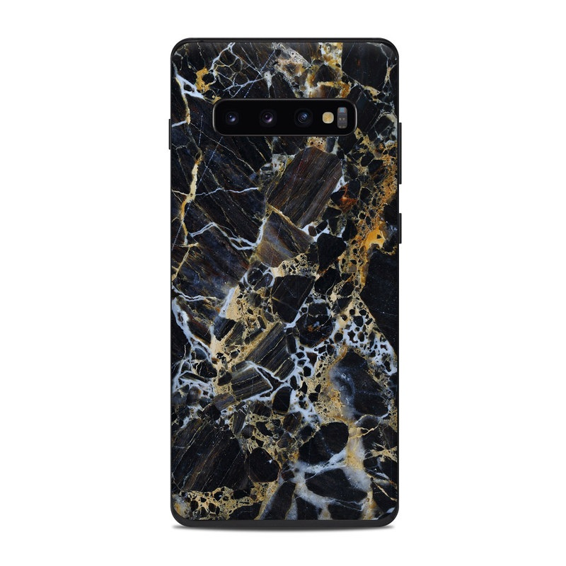 Samsung Galaxy S10 Plus Skin design of Black, Yellow, Rock, Brown, Marble, Water, Close-up, Granite, Pattern, Geology with black, white, orange, gray, yellow colors