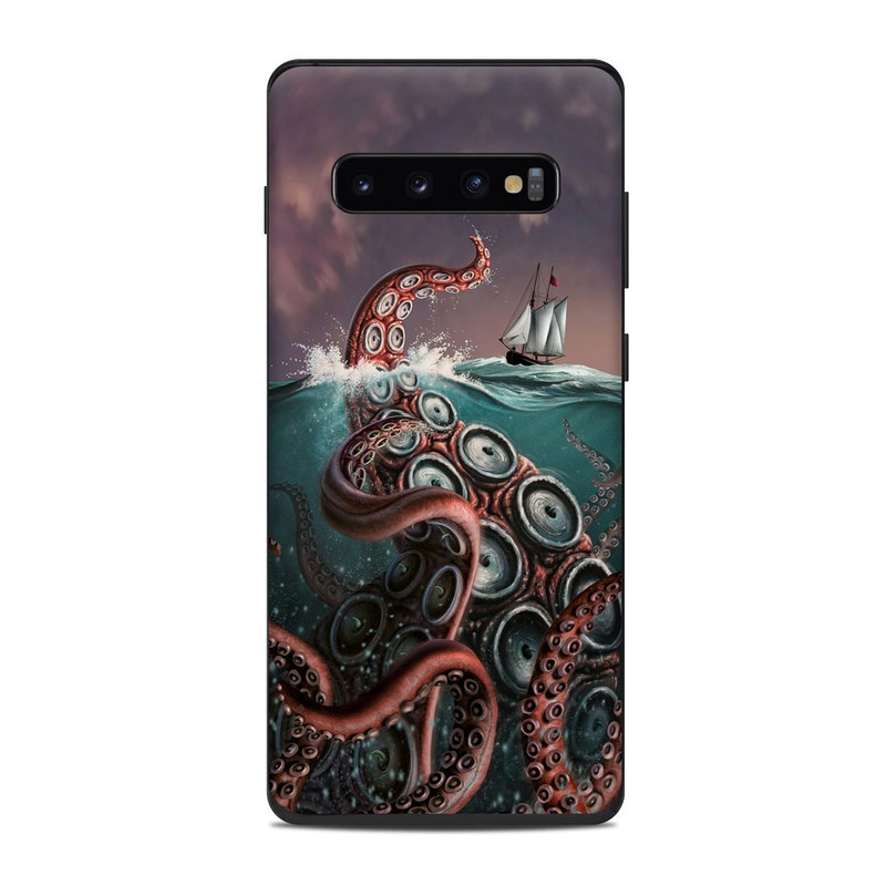 Samsung Galaxy S10 Plus Skin design of Octopus, Water, Illustration, Wind wave, Sky, Graphic design, Organism, Cephalopod, Cg artwork, giant pacific octopus with blue, gray, white, brown, red colors