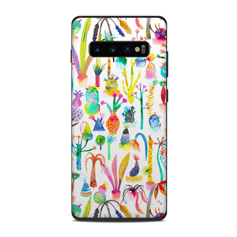 Samsung Galaxy S10 Plus Skin design of Pattern with white, yellow, green, blue, orange, pink, purple, brown, black colors