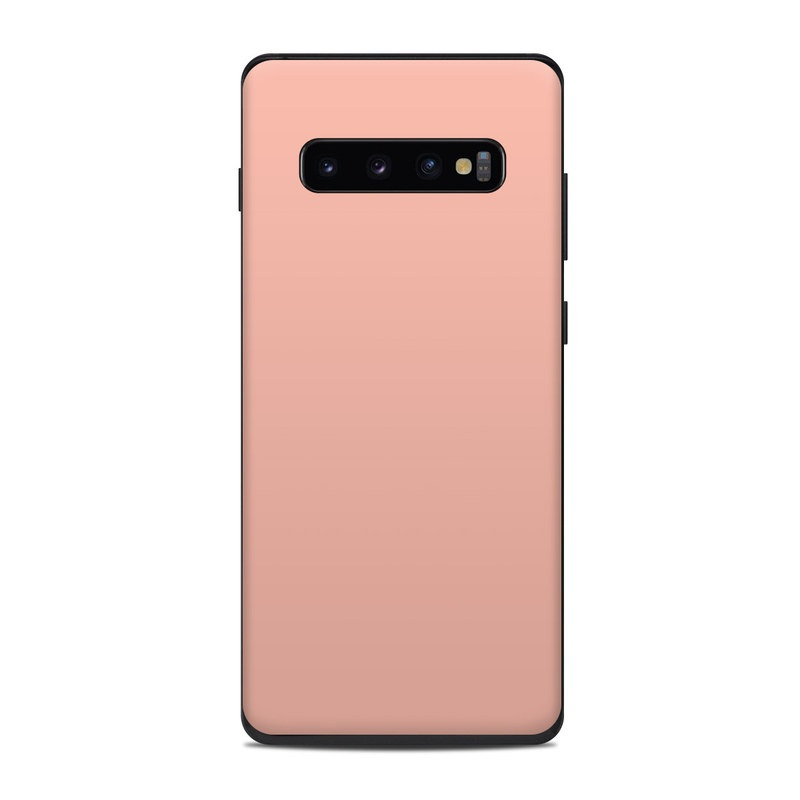 Samsung Galaxy S10 Plus Skin design of Orange, Pink, Peach, Brown, Red, Yellow, Material property, Font, Beige with pink colors