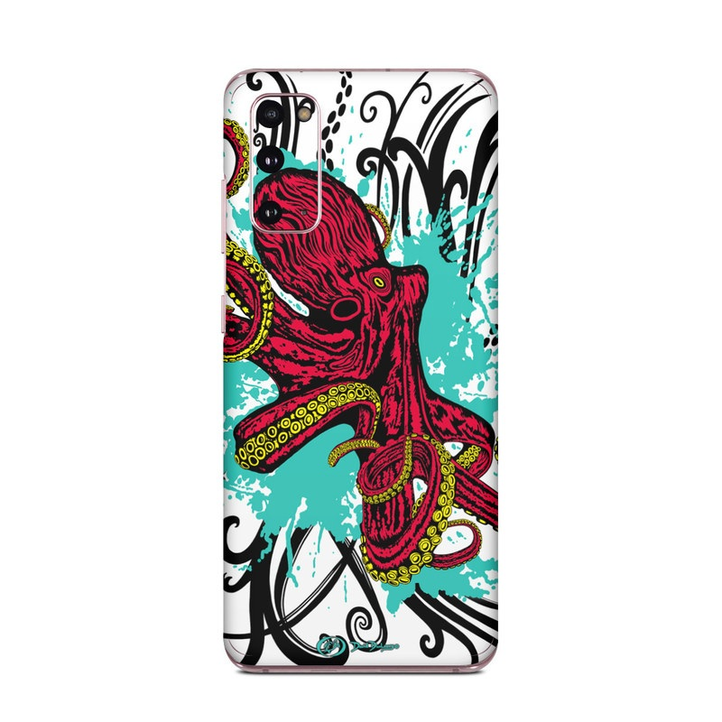 Samsung Galaxy S20 5G Skin design of Graphic design, Illustration, Visual arts, Octopus, Design, Art, Fictional character, Pattern, Clip art, Line art with black, white, gray, red, blue, green colors