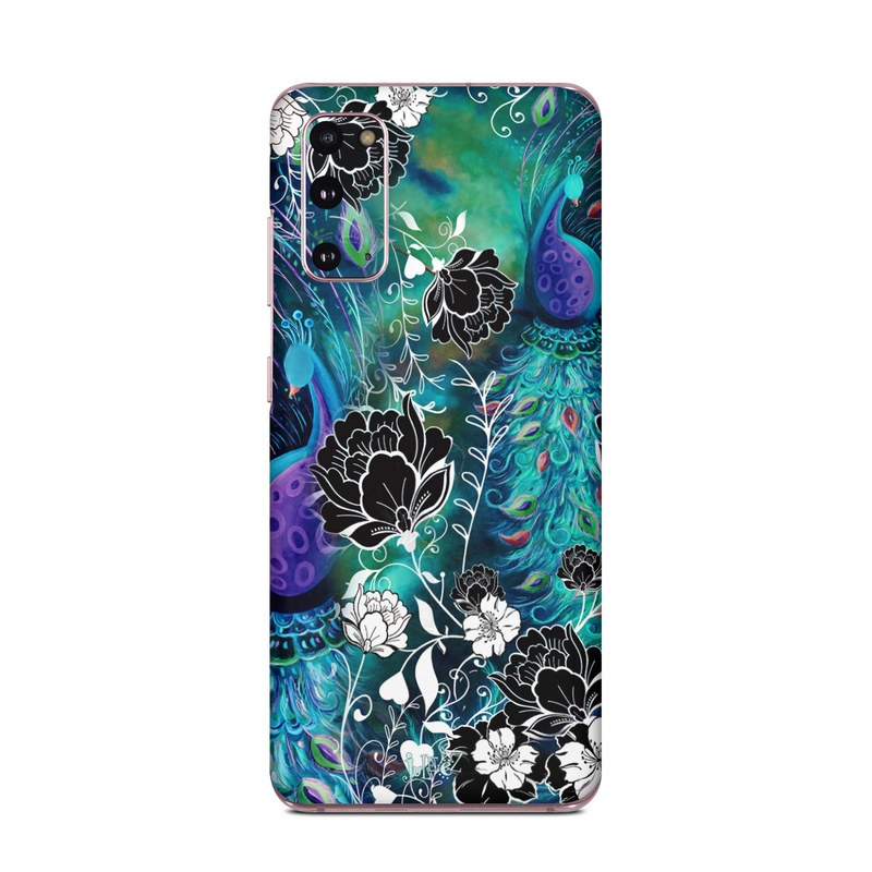 Samsung Galaxy S20 5G Skin design of Pattern, Psychedelic art, Organism, Turquoise, Purple, Graphic design, Art, Design, Illustration, Fractal art with black, blue, gray, green, white colors
