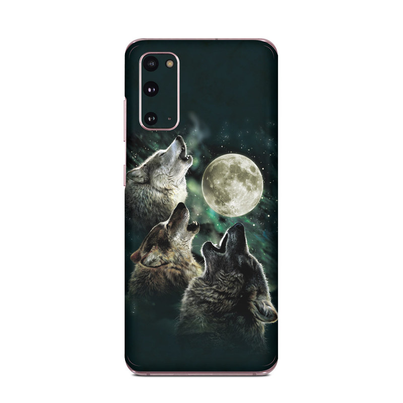 Samsung Galaxy S20 5G Skin design of Wolf, Light, Astronomical object, Moon, Wildlife, Organism, Moonlight, Sky, Atmosphere, Celestial event with black, gray, green colors