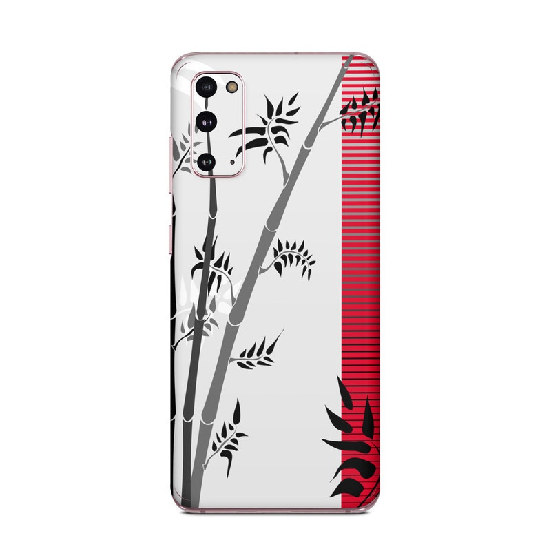 Samsung Galaxy S20 5G Skin design of Botany, Plant, Branch, Plant stem, Tree, Bamboo, Pedicel, Black-and-white, Flower, Twig with gray, red, black, white colors