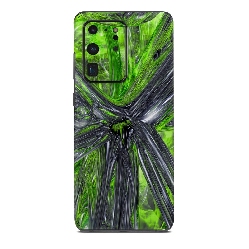Samsung Galaxy S20 Ultra Skin design of Green, Tree, Leaf, Plant, Grass, Terrestrial plant, Botany, Woody plant, Arecales, Vascular plant with green, gray, black colors