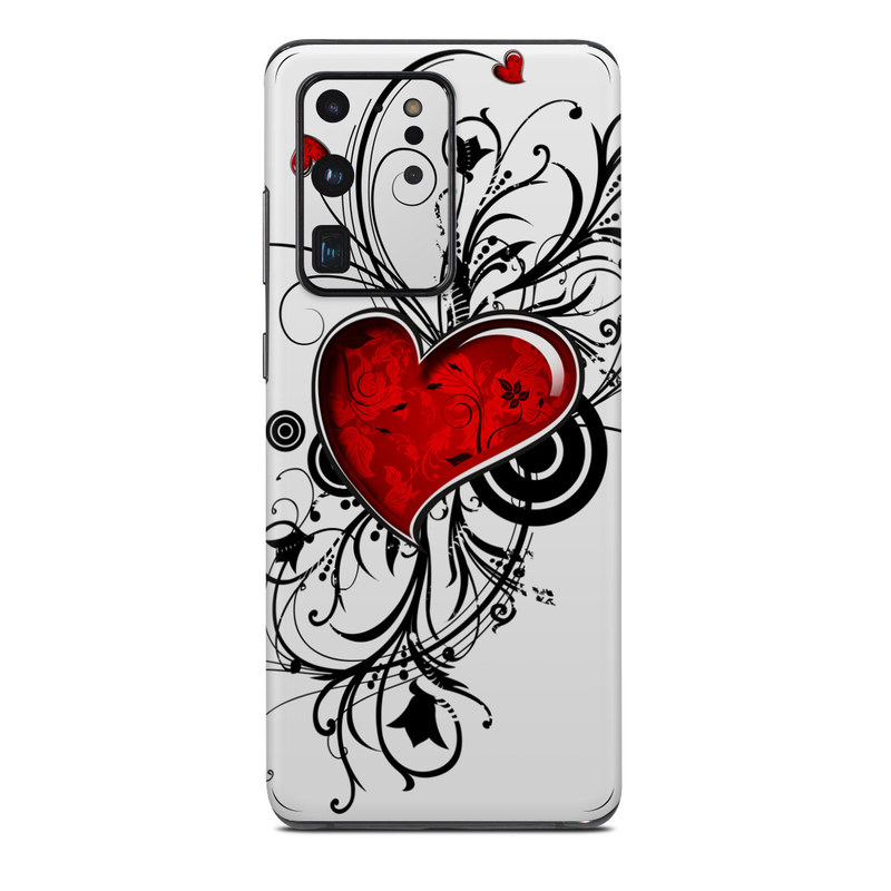 Samsung Galaxy S20 Ultra Skin design of Heart, Line art, Love, Clip art, Plant, Graphic design, Illustration with white, gray, black, red colors