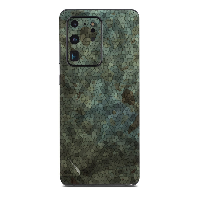 Samsung Galaxy S20 Ultra Skin design of Green, Pattern, Brown, Wall, Design, Rock, Geology, Camouflage, Granite, Metal with black, brown, blue, gray, white colors