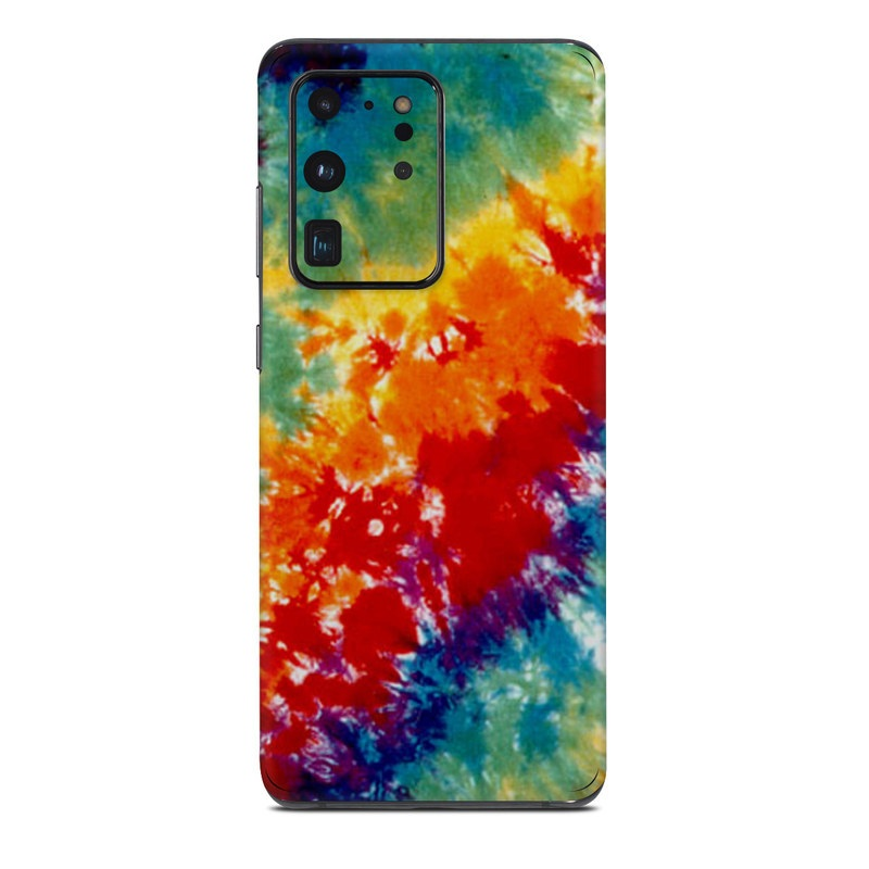 Samsung Galaxy S20 Ultra Skin design of Orange, Watercolor paint, Sky, Dye, Acrylic paint, Colorfulness, Geological phenomenon, Art, Painting, Organism with red, orange, blue, green, yellow, purple colors