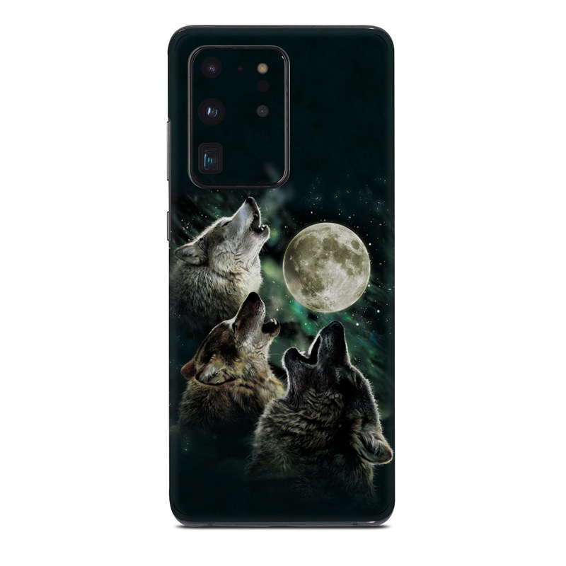 Samsung Galaxy S20 Ultra Skin design of Wolf, Light, Astronomical object, Moon, Wildlife, Organism, Moonlight, Sky, Atmosphere, Celestial event with black, gray, green colors