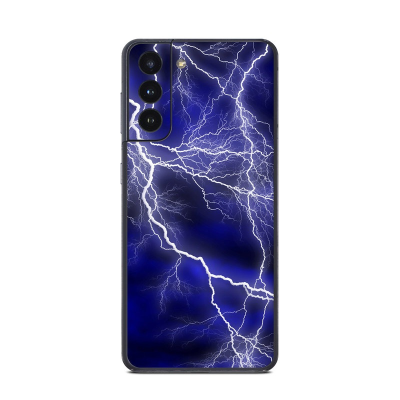 Samsung Galaxy S21 Skin design of Thunder, Lightning, Thunderstorm, Sky, Nature, Electric blue, Atmosphere, Daytime, Blue, Atmospheric phenomenon with blue, black, white colors