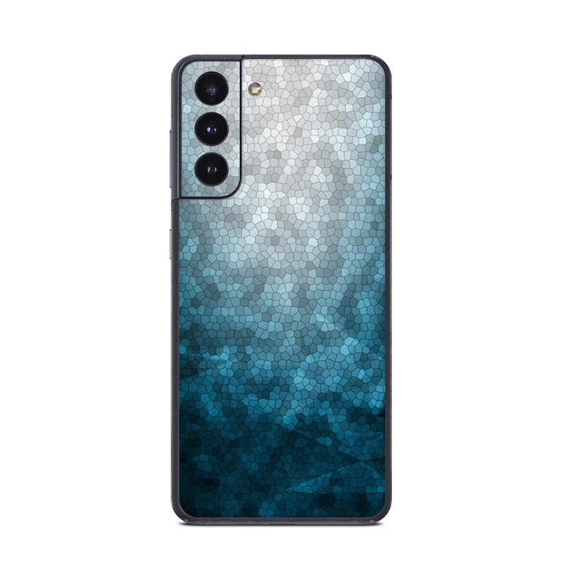 Samsung Galaxy S21 Skin design of Blue, Aqua, Turquoise, Green, Water, Teal, Sky, Azure, Pattern, Atmosphere with blue, white, gray colors