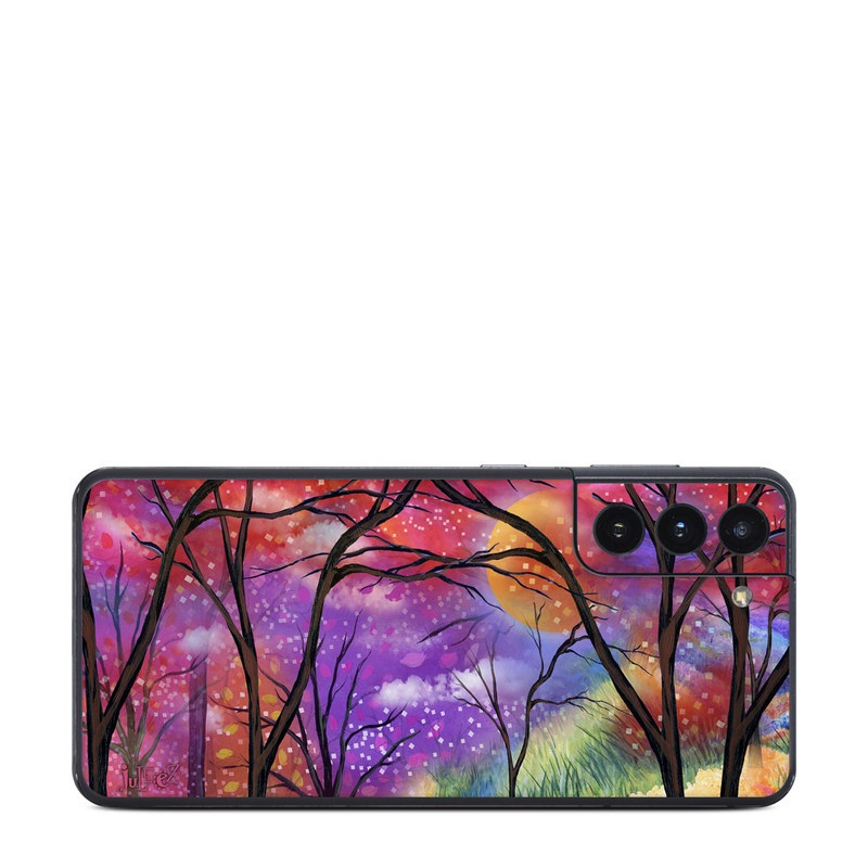 Samsung Galaxy S21 Skin design of Nature, Tree, Natural landscape, Painting, Watercolor paint, Branch, Acrylic paint, Purple, Modern art, Leaf with red, purple, black, gray, green, blue colors