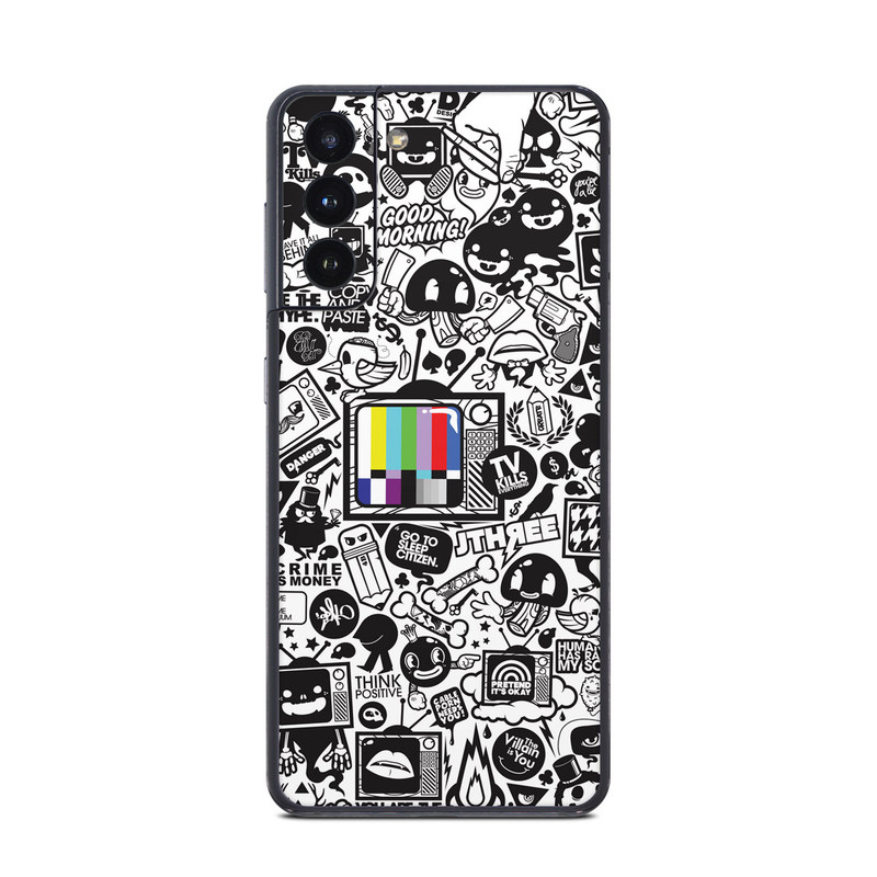 Samsung Galaxy S21 Skin design of Pattern, Drawing, Doodle, Design, Visual arts, Font, Black-and-white, Monochrome, Illustration, Art with gray, black, white colors