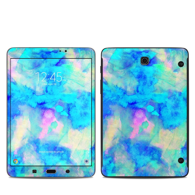 Samsung Galaxy Tab S2 8.0 Skin design of Blue, Turquoise, Aqua, Pattern, Dye, Design, Sky, Electric blue, Art, Watercolor paint with blue, purple colors