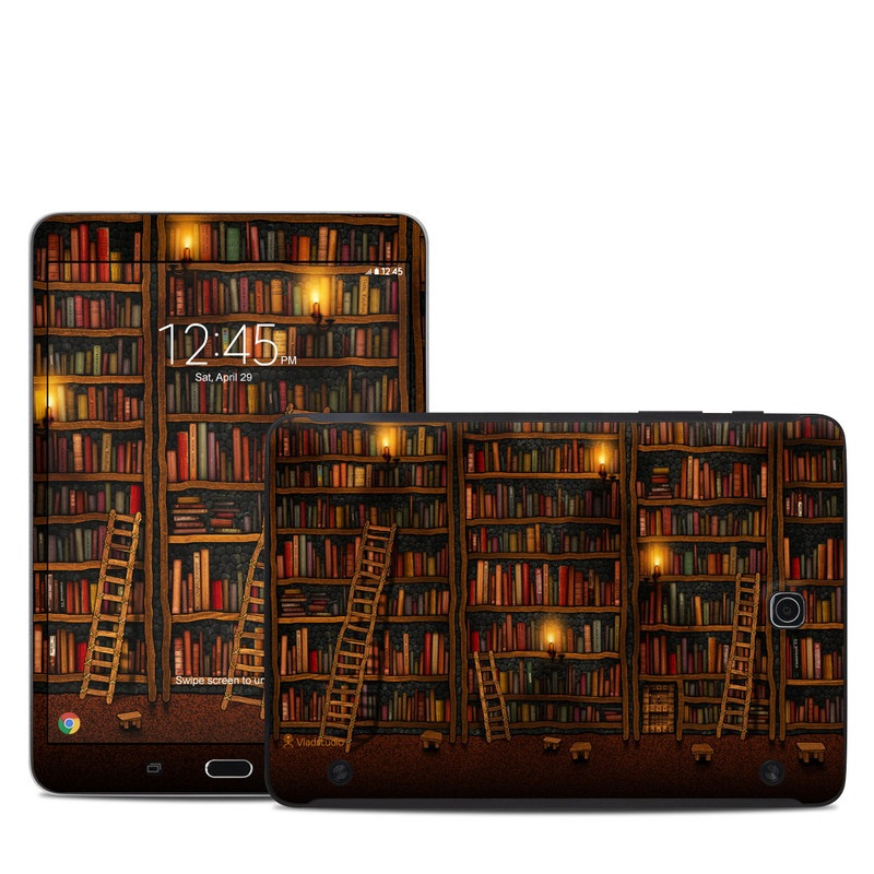 Samsung Galaxy Tab S2 8.0 Skin design of Shelving, Library, Bookcase, Shelf, Furniture, Book, Building, Publication, Room, Darkness with black, red colors