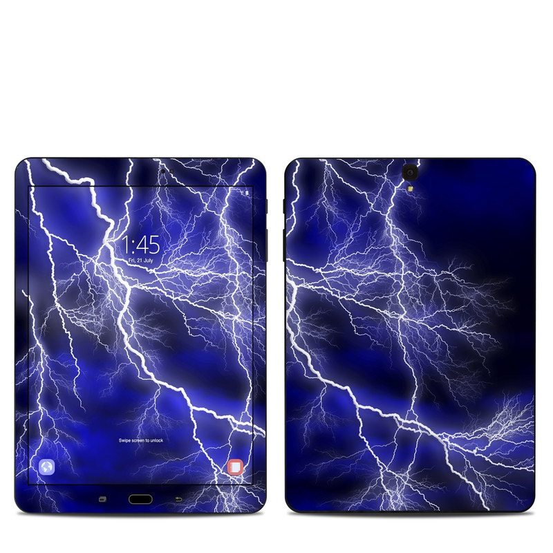 Samsung Galaxy Tab S3 9.7 Skin design of Thunder, Lightning, Thunderstorm, Sky, Nature, Electric blue, Atmosphere, Daytime, Blue, Atmospheric phenomenon with blue, black, white colors