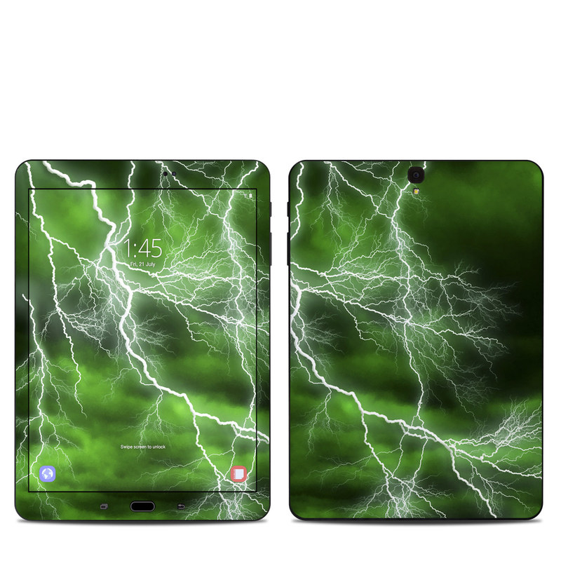 Samsung Galaxy Tab S3 9.7 Skin design of Thunderstorm, Thunder, Lightning, Nature, Green, Water, Sky, Atmosphere, Atmospheric phenomenon, Daytime with green, black, white colors
