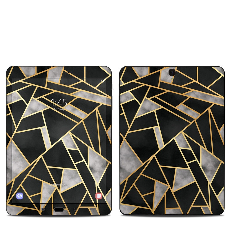 Samsung Galaxy Tab S3 9.7 Skin design of Pattern, Triangle, Yellow, Line, Tile, Floor, Design, Symmetry, Architecture, Flooring with black, gray, yellow colors