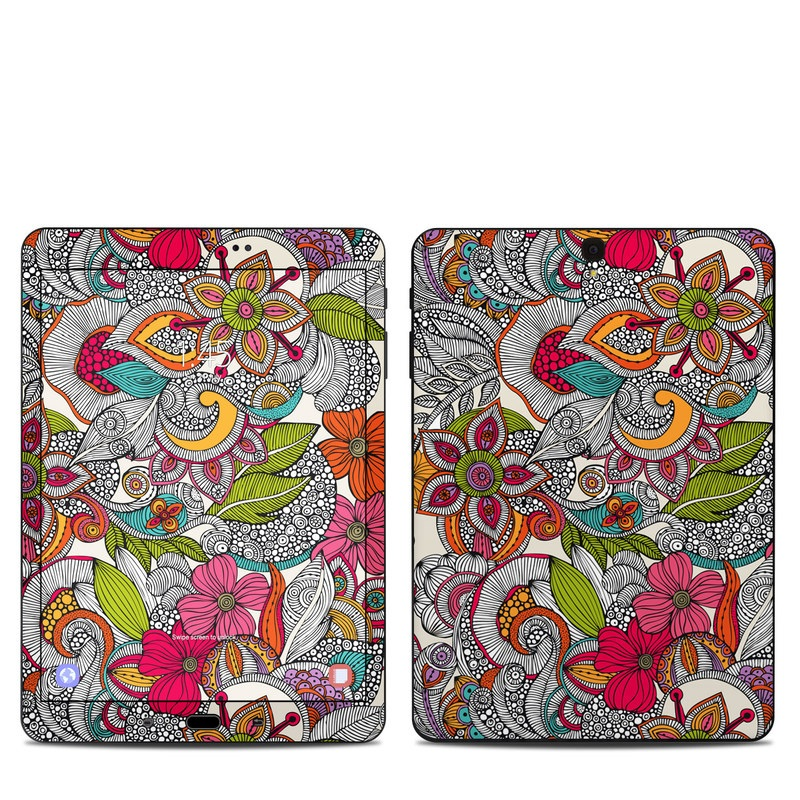 Samsung Galaxy Tab S3 9.7 Skin design of Pattern, Drawing, Visual arts, Art, Design, Doodle, Floral design, Motif, Illustration, Textile with gray, red, black, green, purple, blue colors