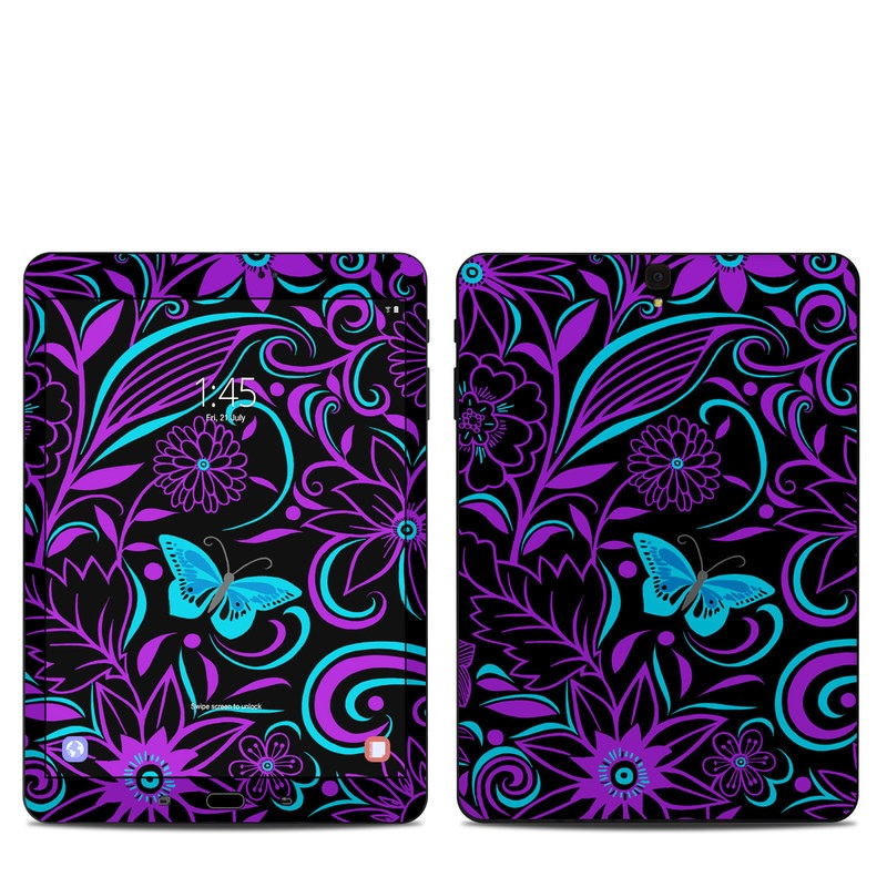Samsung Galaxy Tab S3 9.7 Skin design of Pattern, Purple, Violet, Turquoise, Teal, Design, Floral design, Visual arts, Magenta, Motif with black, purple, blue colors