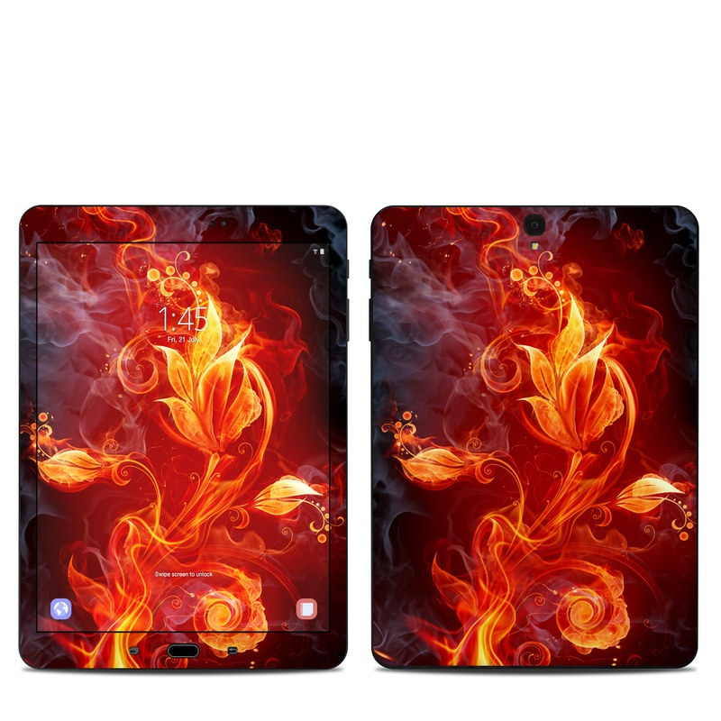 Samsung Galaxy Tab S3 9.7 Skin design of Flame, Fire, Heat, Red, Orange, Fractal art, Graphic design, Geological phenomenon, Design, Organism with black, red, orange colors