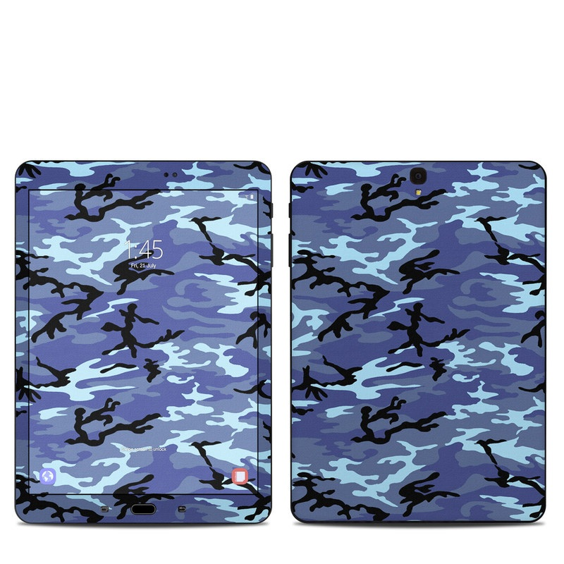 Samsung Galaxy Tab S3 9.7 Skin design of Military camouflage, Pattern, Blue, Aqua, Teal, Design, Camouflage, Textile, Uniform with blue, black, gray, purple colors