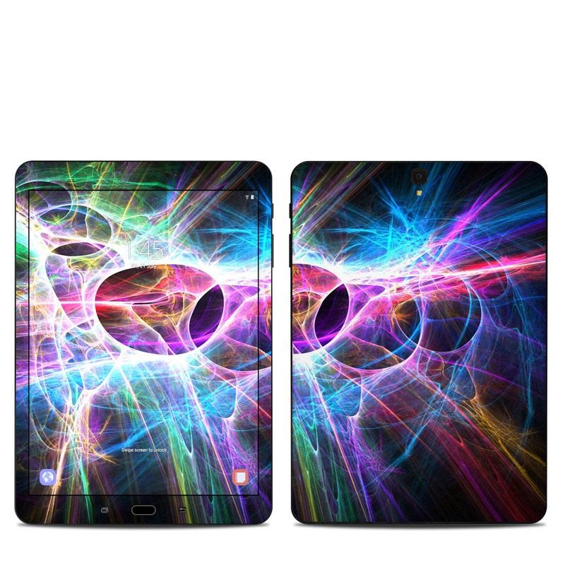 Samsung Galaxy Tab S3 9.7 Skin design of Fractal art, Light, Pattern, Purple, Graphic design, Design, Colorfulness, Electric blue, Art, Neon with black, gray, blue, purple colors