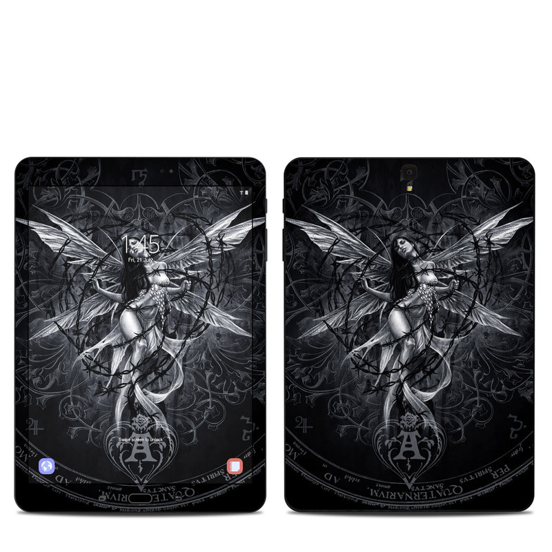 Samsung Galaxy Tab S3 9.7 Skin design of Illustration, Graphic design, Darkness, Fictional character, Black-and-white, Pattern, Graphics, Mythical creature, Circle, Wing with black, white colors