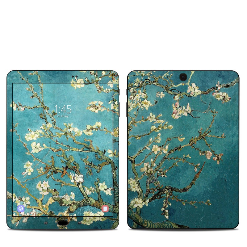 Samsung Galaxy Tab S3 9.7 Skin design of Tree, Branch, Plant, Flower, Blossom, Spring, Woody plant, Perennial plant with blue, black, gray, green colors