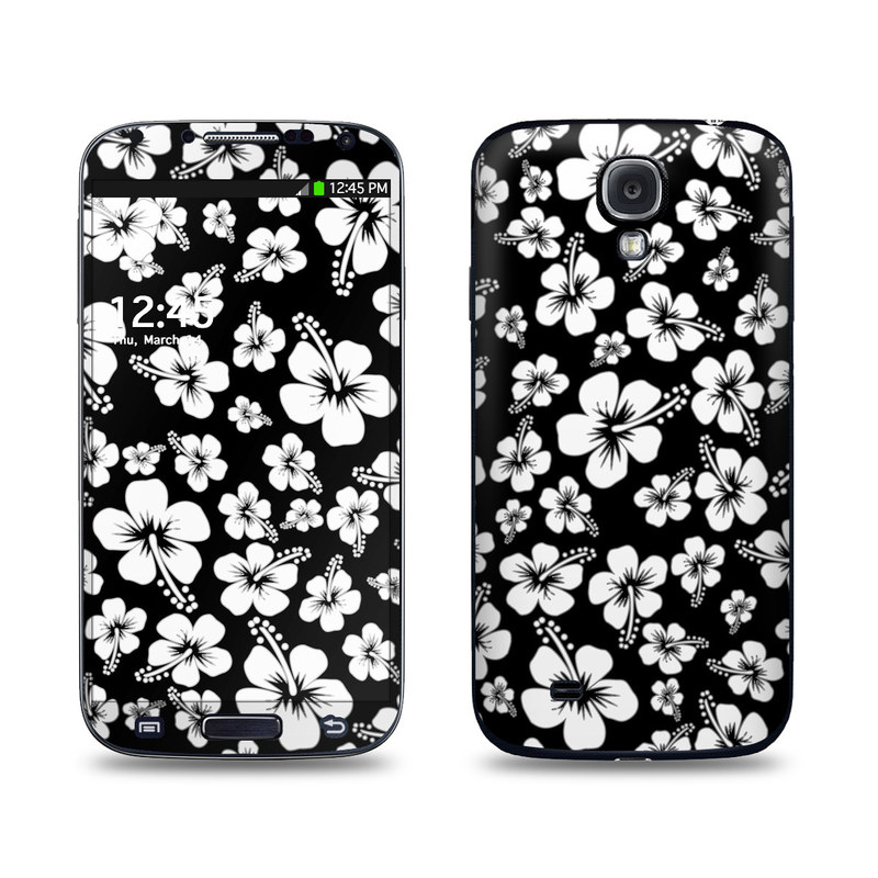 Samsung Galaxy S4 Skin design of Black-and-white, Pattern, Monochrome photography, Monochrome, Petal, Flower, Plant, Wildflower, Design, Leaf with black, white colors