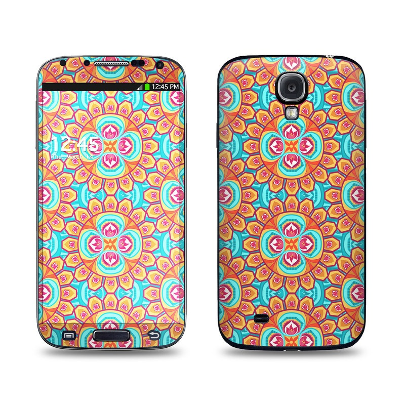 Samsung Galaxy S4 Skin design of Pattern, Orange, Design, Textile, Wrapping paper, Visual arts, Motif, Circle, Art with blue, orange, red, yellow colors