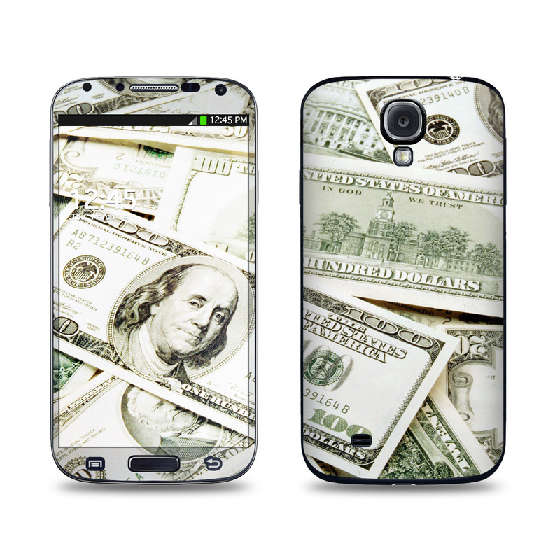 Samsung Galaxy S4 Skin design of Money, Cash, Currency, Banknote, Dollar, Saving, Money handling, Paper, Stock photography, Paper product with green, white, black, gray colors