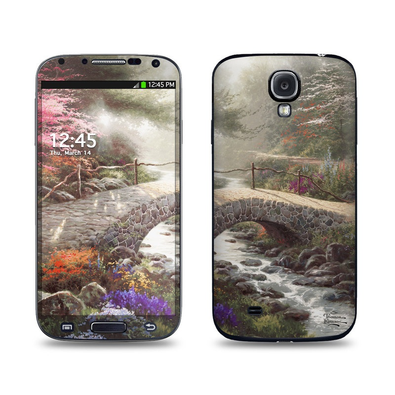 Samsung Galaxy S4 Skin design of Nature, Natural landscape, Painting, Tree, Atmospheric phenomenon, Landscape, Sky, Leaf, Spring, Botany with brown, red, green, purple, pink colors