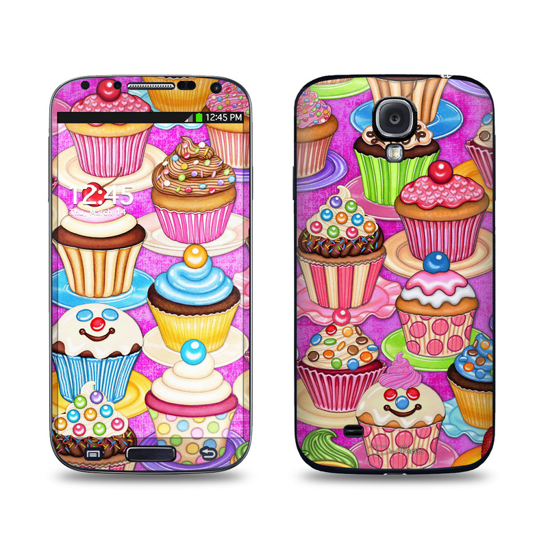 Samsung Galaxy S4 Skin design of Cupcake, Baking cup, Icing, Baking, Cake decorating, Dessert, Cake, Cake decorating supply, Food, Sweetness with pink, green, blue, orange, yellow, brown colors
