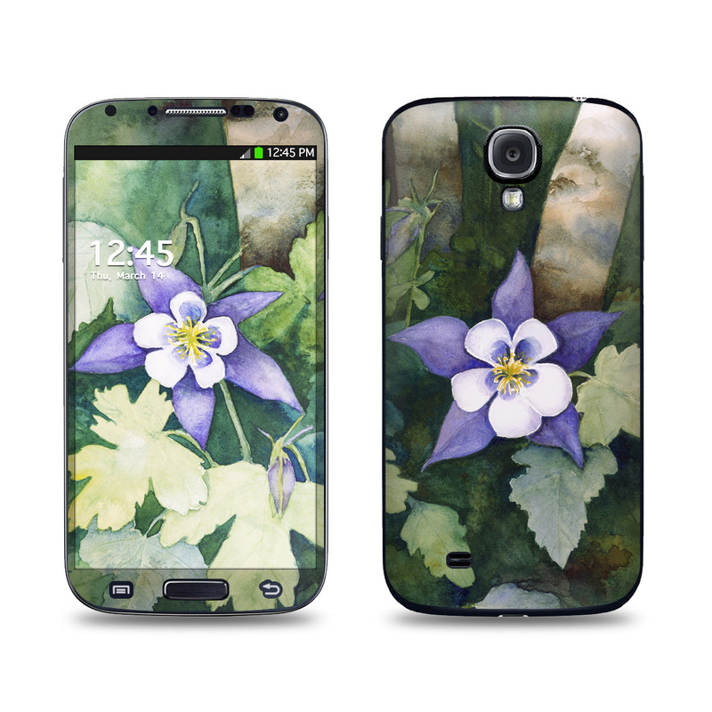 Samsung Galaxy S4 Skin design of Flower, Flowering plant, Watercolor paint, Colorado blue columbine, Plant, Petal, Columbine, Wildflower, Violet family, Bellflower family with green, purple, white, brown colors