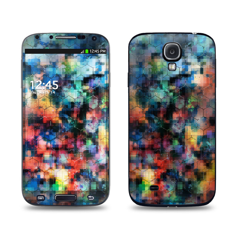 Samsung Galaxy S4 Skin design of Blue, Colorfulness, Pattern, Psychedelic art, Art, Sky, Design, Textile, Dye, Modern art with black, blue, red, gray, green colors