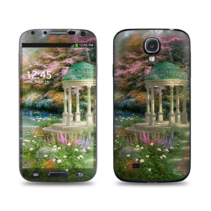 Samsung Galaxy S4 Skin design of Nature, Natural landscape, Tree, Botany, Water, Garden, Gazebo, Spring, Plant, Reflection with black, gray, green, red, purple colors