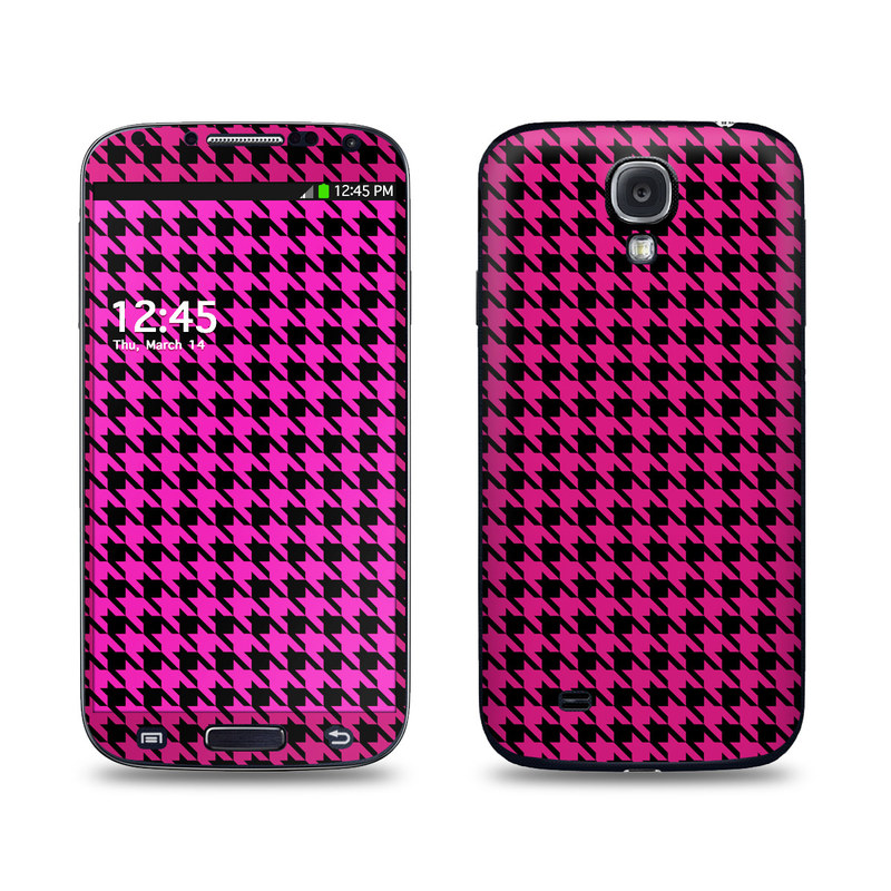 Pink Houndstooth Galaxy S4 Skin