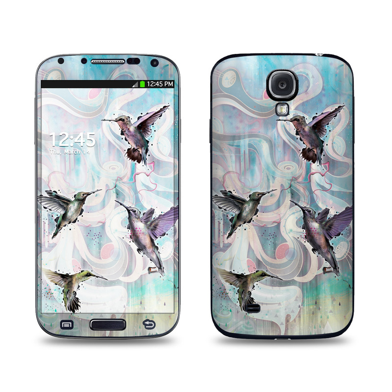 Samsung Galaxy S4 Skin design of Bird, Watercolor paint, Illustration, Hummingbird, Painting, Art, Wing, Fictional character, Acrylic paint, Perching bird with gray, blue, black colors