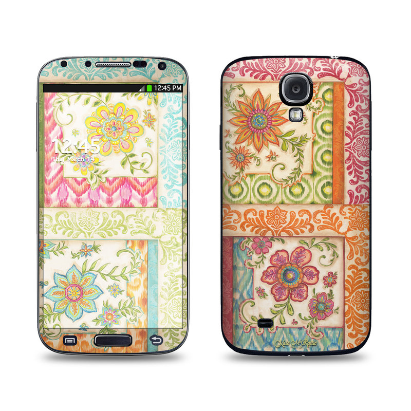 Samsung Galaxy S4 Skin design of Pattern, Textile, Line, Design, Wrapping paper, Visual arts, Motif, Floral design, Pedicel with gray, green, pink, red, blue, orange colors