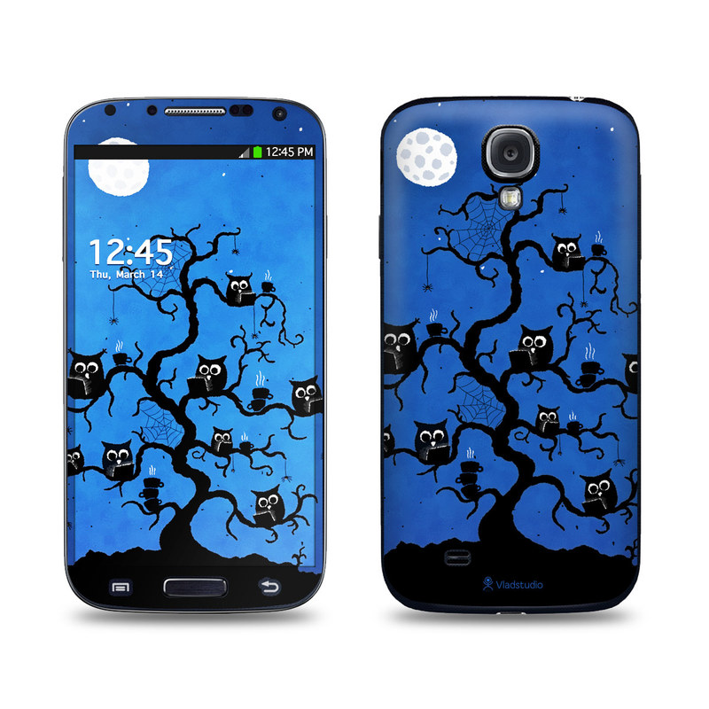 Samsung Galaxy S4 Skin design of Illustration, Organism, Pattern with blue, black colors