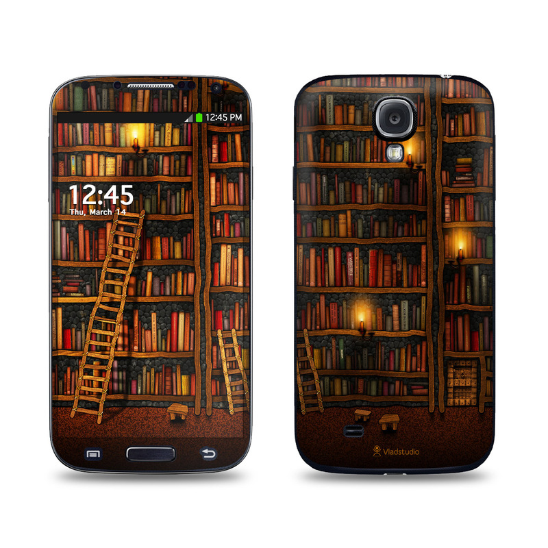 Samsung Galaxy S4 Skin design of Shelving, Library, Bookcase, Shelf, Furniture, Book, Building, Publication, Room, Darkness with black, red colors