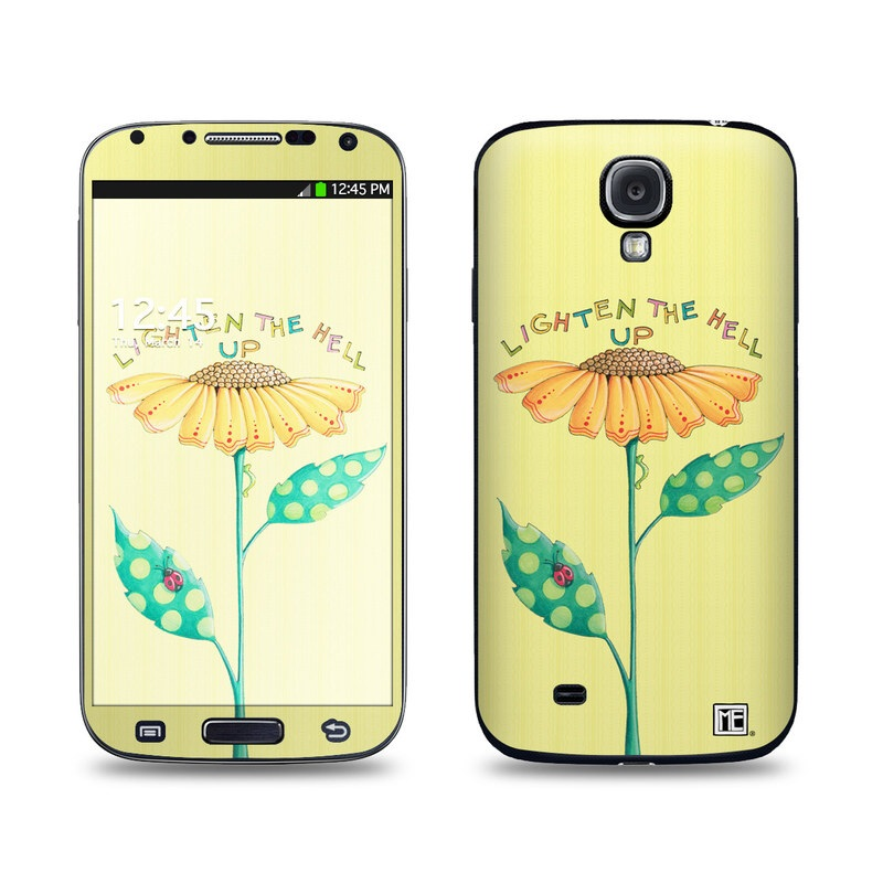 Samsung Galaxy S4 Skin design of Flower, Plant, Botany, Flowering plant, Illustration, Wildflower, Daisy family, Coneflower, Pedicel with yellow, green, red, black, orange, blue colors