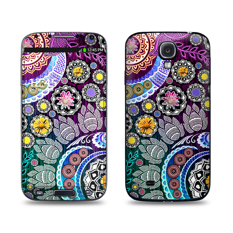 Samsung Galaxy S4 Skin design of Pattern, Psychedelic art, Art, Visual arts, Design, Floral design, Textile, Motif, Circle, Illustration with black, gray, purple, blue, green, red colors