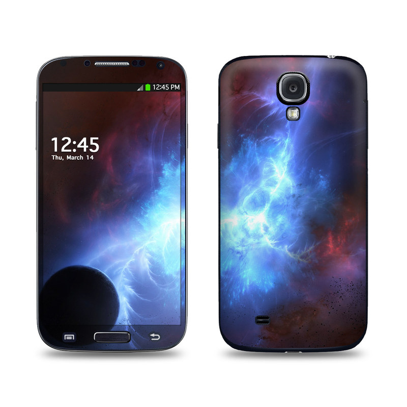 Samsung Galaxy S4 Skin design of Sky, Atmosphere, Outer space, Space, Astronomical object, Fractal art, Universe, Electric blue, Art, Organism with black, blue, purple colors